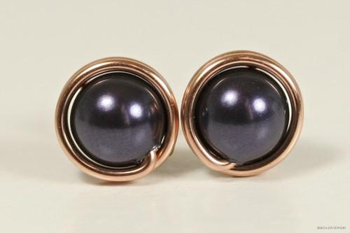14K rose gold filled wire wrapped dark purple Swarovski pearl stud earrings handmade by Jessica Luu Jewelry