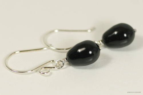 Sterling silver wire wrapped mystic black Swarovski teardrop pearl dangle earrings handmade by Jessica Luu Jewelry