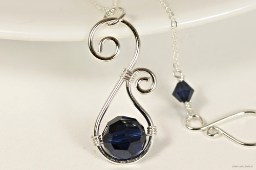 Sterling silver wire wrapped dark navy indigo blue Swarovski crystal pendant on chain necklace handmade by Jessica Luu Jewelry