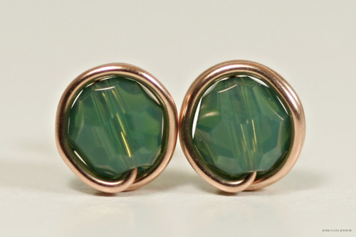 14K rose gold filled dark palace green opal Swarovski crystal stud earrings handmade by Jessica Luu Jewelry