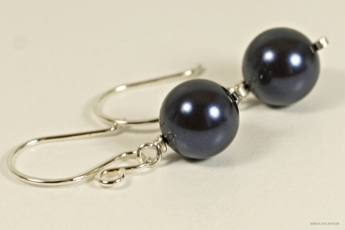 Sterling silver wire wrapped dark navy night blue Swarovski pearl dangle earrings handmade by Jessica Luu Jewelry