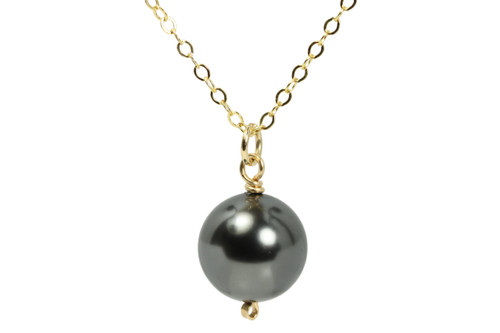 14K yellow gold filled wire wrapped black Swarovski pearl solitaire pendant on chain necklace handmade by Jessica Luu Jewelry
