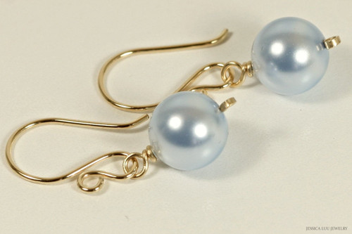14k yellow gold filled wire wrapped light blue Swarovski pearl dangle earrings handmade by Jessica Luu Jewelry