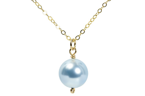14K yellow gold filled wire wrapped light blue Swarovski pearl solitaire pendant on chain necklace handmade by Jessica Luu Jewelry