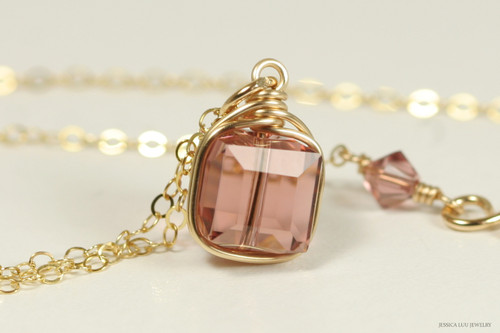 14k yellow gold filled wire wrapped blush rose pink Swarovski crystal cube pendant on chain necklace handmade by Jessica Luu Jewelry