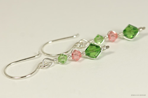 Sterling silver wire wrapped peridot, rose peach, fern green Swarovski crystal dangle earrings handmade by Jessica Luu Jewelry