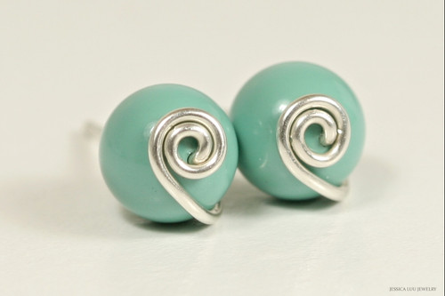 Sterling silver wire wrapped jade green Swarovki pearl stud earrings handmade by Jessica Luu Jewelry