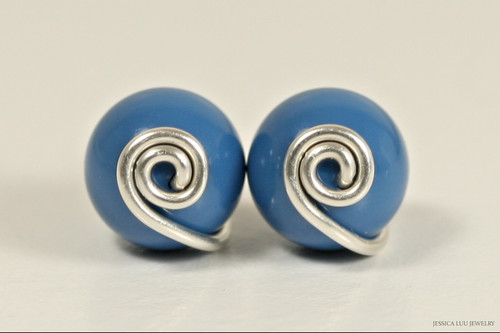Sterling silver wire wrapped lapis blue  pearl stud earrings handmade by Jessica Luu Jewelry