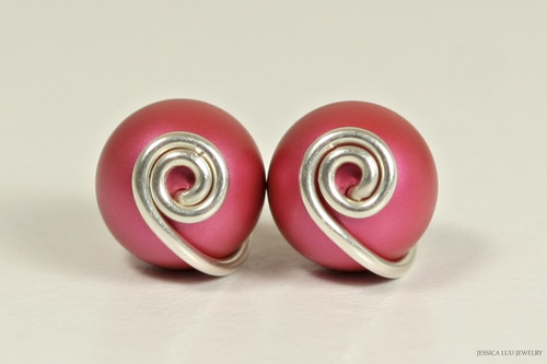 Sterling silver dark mulberry pink Swarovski pearl stud earrings handmade by Jessica Luu Jewelry