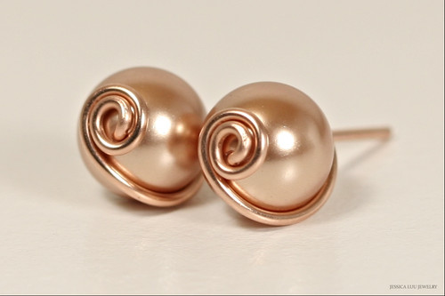 14K rose gold filled wire wrapped metallic Swarovski pearl stud earrings handmade by Jessica Luu Jewelry