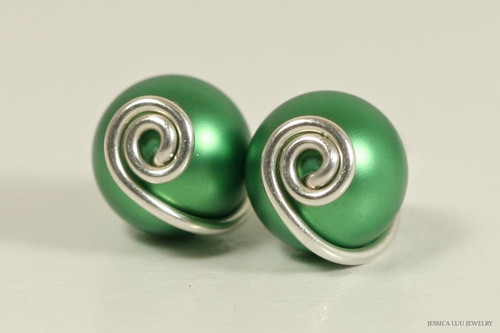 Sterling silver wire wrapped eden green Swarovki pearl stud earrings handmade by Jessica Luu Jewelry