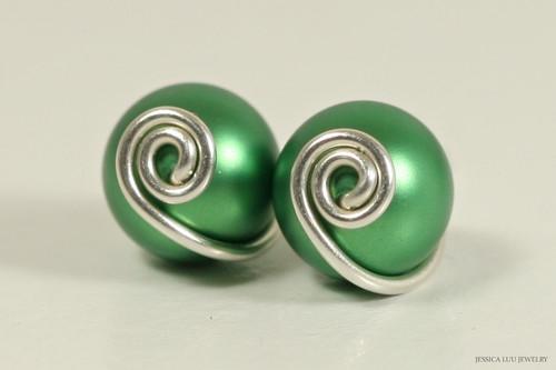 Sterling silver wire wrapped eden green Swarovki pearl stud earrings handmade by Jessica Luu Jewelry