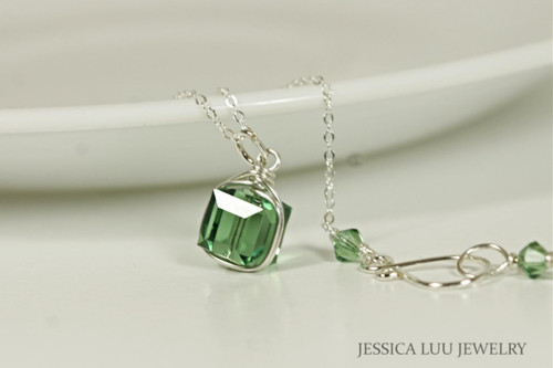 Sterling silver wire wrapped erinite green Swarovski crystal cube pendant on chain necklace handmade by Jessica Luu Jewelry