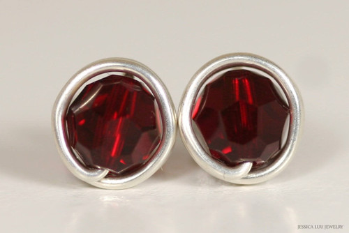 Sterling silver wire wrapped garnet red siam Swarovski crystal stud earrings handmade by Jessica Luu Jewelry