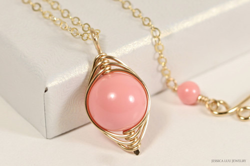 14K yellow gold filled herringbone wire wrapped pink coral Swarovski pearl solitaire pendant on chain necklace handmade by Jessica Luu Jewelry