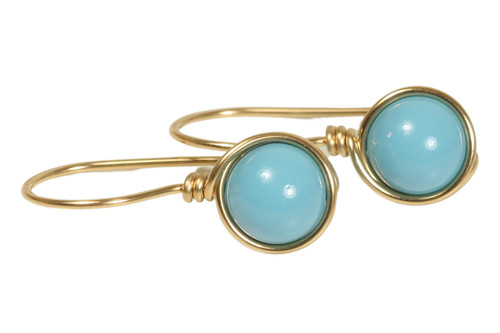 14K yellow gold filled wire wrapped turquoise blue Swarovski pearl drop earrings handmade by Jessica Luu Jewelry
