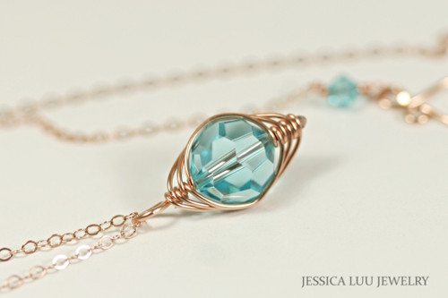 14K rose gold filled herringbone wire wrapped light turquoise blue green Swarovski crystal pendant on chain necklace handmade by Jessica Luu Jewelry