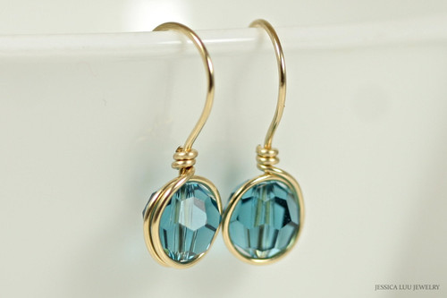 14K yellow gold filled wire wrapped teal blue indicolite Swarovski crystal drop earrings handmade by Jessica Luu Jewelry
