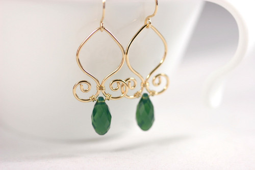 14K yellow gold filled wire wrapped palace green opal Swarovski crystal briolette dangle earrings handmade by Jessica Luu Jewelry