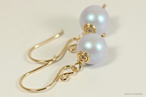 14K yellow gold filled wire wrapped iridescent dreamy blue Swarovski pearl dangle earrings handmade by Jessica Luu Jewelry