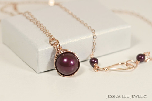 14K rose gold filled wire wrapped blackberry purple Swarovski pearl solitaire pendant on chain necklace handmade by Jessica Luu Jewelry