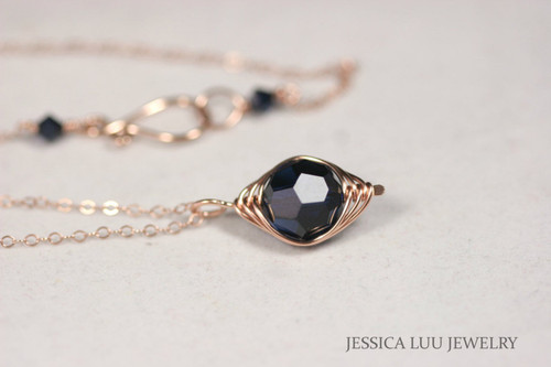 Rose Gold Dark Blue Swarovski Crystal Necklace - Available with Matching Earrings and Other Metal Options