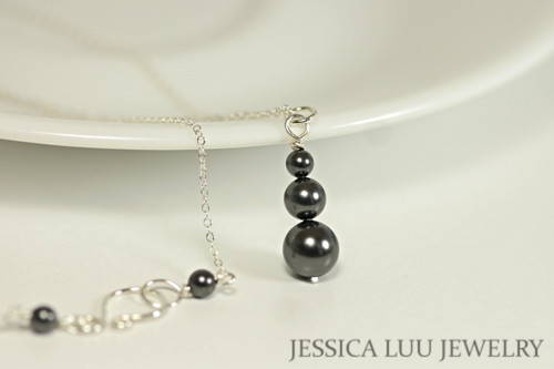 Sterling silver three black Swarovski pearl pendant on chain necklace handmade by Jessica Luu Jewelry