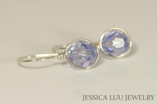 Sterling silver wire wrapped Provence lavender blue purple Swarovski crystal drop earrings handmade by Jessica Luu Jewelry