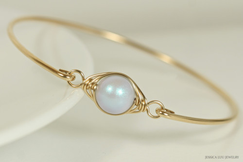 14K yellow gold filled wire wrapped iridescent dreamy blue Swarovski pearl solitaire bangle bracelet handmade by Jessica Luu Jewelry