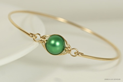 14K yellow gold filled herringbone wire wrapped eden green Swarovski pearl slide on bangle bracelet handmade by Jessica Luu Jewelry