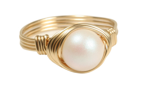 14K yellow gold filled wire wrapped pearlescent white Swarovski pearl solitaire ring handmade by Jessica Luu Jewelry