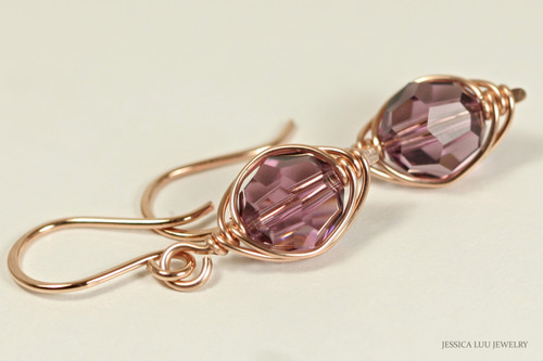 14k rose gold filled herringbone wire wrapped iris purple Swarovski crystal dangle earrings handmade by Jessica Luu Jewelry