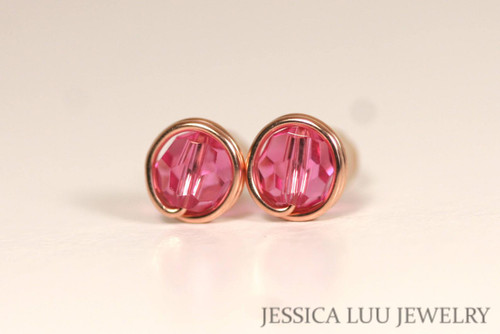 14K rose gold filled wire wrapped pink Swarovski crystal stud earrings handmade by Jessica Luu Jewelry
