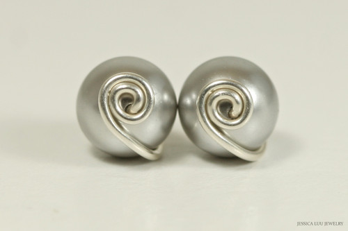 Sterling silver wire wrapped light grey Swarovski pearl stud earrings handmade by Jessica Luu Jewelry