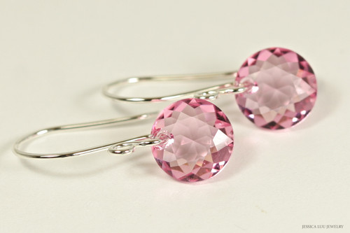 Sterling silver light rose pink Swarovski crystal dangle earrings handmade by Jessica Luu Jewelry