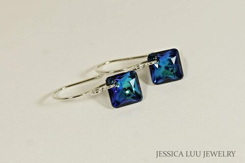Sterling silver Bermuda blue Swarovski crystal princess cut Swarovski crystal dangle earrings handmade by Jessica Luu Jewelry