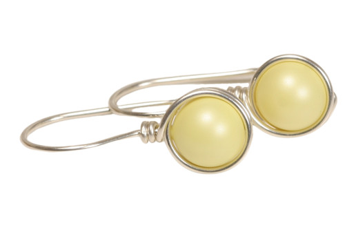 Sterling silver wire wrapped pastel light yellow Swarovski pearl drop earrings handmade by Jessica Luu Jewelry