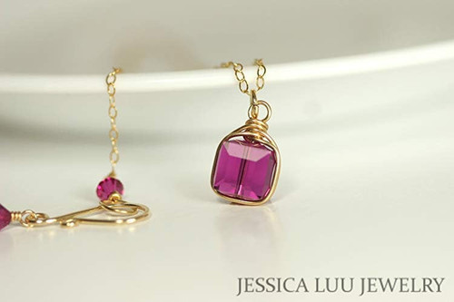 14K yellow gold filled fuchsia pink purple crystal cube pendant on chain necklace handmade by Jessica Luu Jewelry