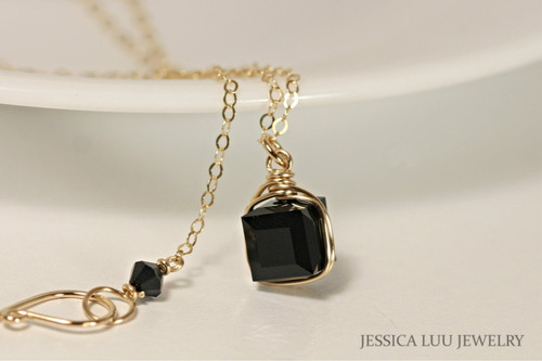 14K yellow gold filled wire wrapped jet black Swarovski crystal cube pendant on chain necklace handmade by Jessica Luu Jewelry