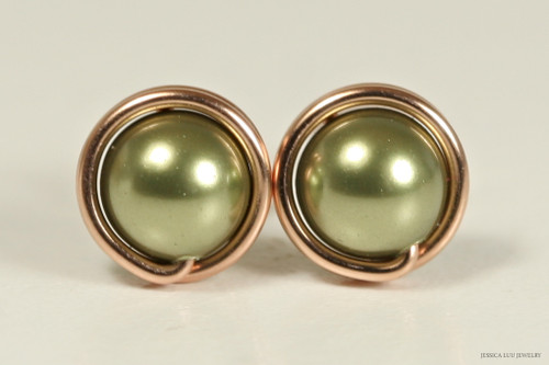 14K rose gold filled wire wrapped olive light green Swarovski pearl stud earrings handmade by Jessica Luu Jewelry