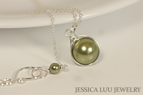 Sterling silver wire wrapped olive light green Swarovski pearl solitaire pendant on chain necklace handmade by Jessica Luu Jewelry
