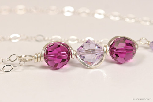 Sterling silver wire wrapped fuchsia pink purple and lavender violet Swarovski crystal pendant on chain necklace handmade by Jessica Luu Jewelry