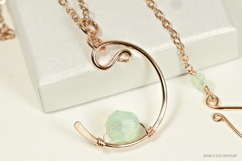 14K rose gold filled chrysolite opal light green crystal crescent pendant on chain necklace handmade by Jessica Luu Jewelry