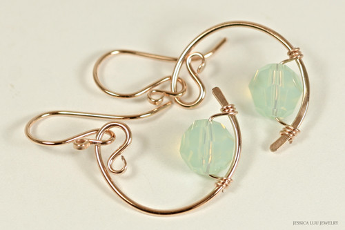 14K rose gold filled chrysolite opal light green Swarovski crystal crescent dangle earrings handmade by Jessica Luu Jewelry