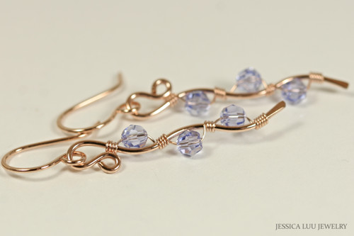 14K rose gold filled wire wrapped Provence lavender blue purple Swarovski crystal dangle earrings handmade by Jessica Luu Jewelry