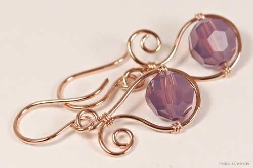 14K rose gold filled wire wrapped cyclamen opal purple Swarovski crystal dangle earrings handmade by Jessica Luu Jewelry