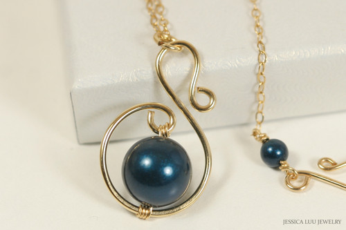 14K yellow gold filled pendant on chain necklace with petrol dark blue Swarovski pearl solitaire handmade by Jessica Luu Jewelry