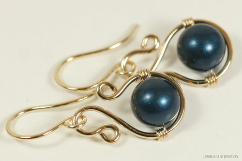 14K yellow gold filled wire wrapped petrol dark blue Swarovski pearl dangle earrings handmade by Jessica Luu Jewelry