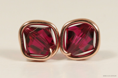 14K rose gold filled ruby Swarovski crystal stud earrings handmade by Jessica Luu Jewelry