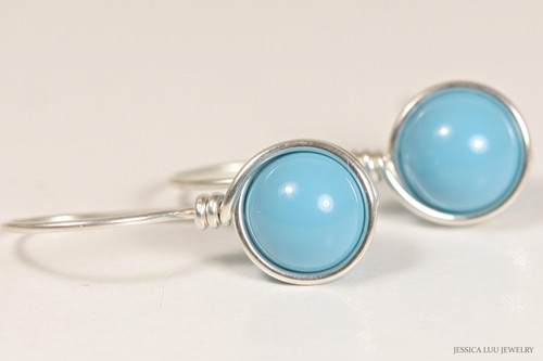 Sterling silver wire wrapped turquoise blue Swarovski pearl drop earrings handmade by Jessica Luu Jewelry